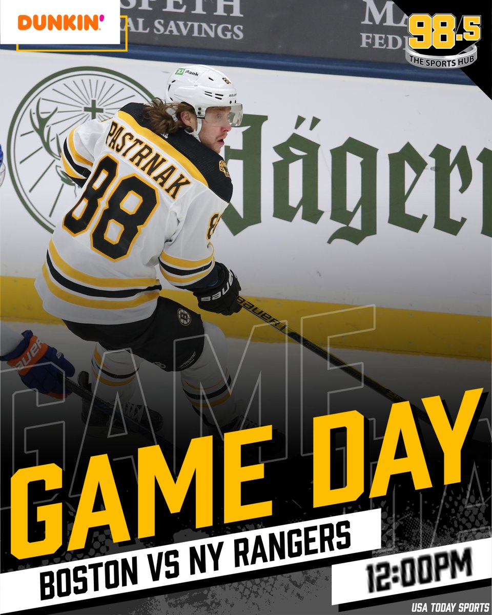 THIS AFTERNOON: #Bruins vs #NYRangers. Pregame @ 11:30am, faceoff @ 12:00pm!