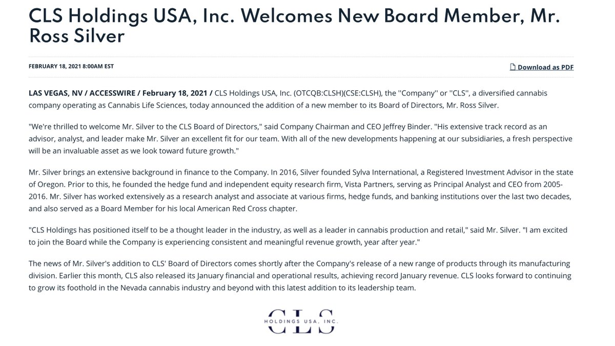 $CLSH CLS Holdings USA, Inc. Welcomes New Board Member, Mr. Ross Silver   #LasVagas #dispensary #cannabis #marijuana #CBD #wsj #nytimes #business #reuters #IHub_StockPosts #forbes #marketwatch #cnn #bet #foxnews #latimes #RayJ #usatoday #CSE #ESPN #WGN