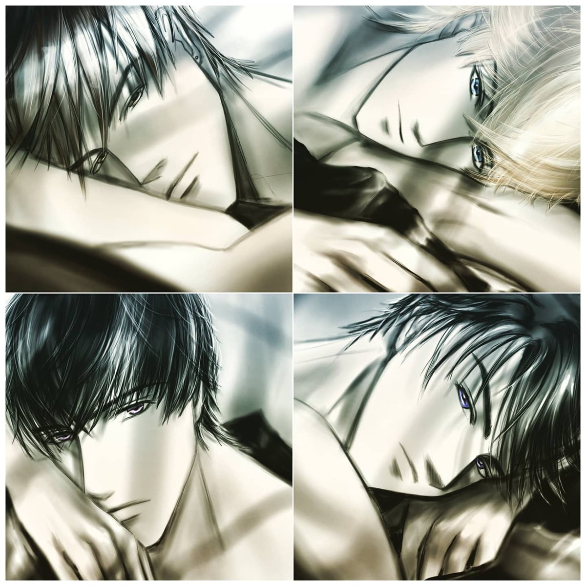 【GLance on bed】 【晨起惺忪】 Thank you for helping me to think of the name of this series  Although is a very quick draw , really love them .Hope you all like it #mrlovefanart #fanart #mrlovequeenschoice #Gavin #Victor #Lucien #Kiro #drawing  #MLQC  #戀與製作人  #恋与制作人