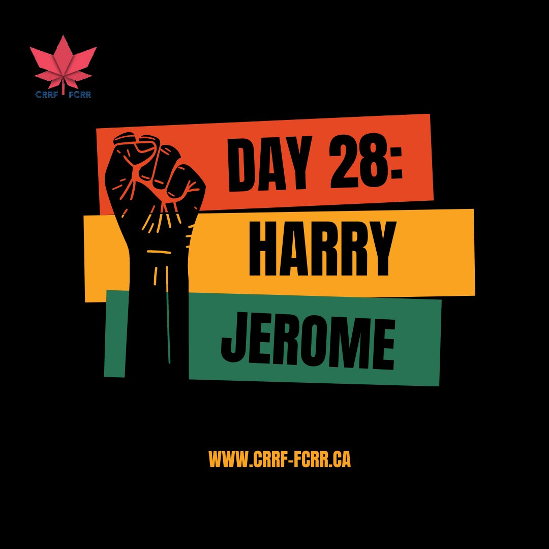 """Day 28 of CRRF's """"28 Days of #Black #Canadian Excellence"""" belongs to Canadian #sports legend & son of @SKGov & #britishcolumbia, #HarryJerome.  To learn more, click on the photos. #blackexcellence #blackcanadians #saskatchewan #BHM2021 #28days #nevergiveup"""