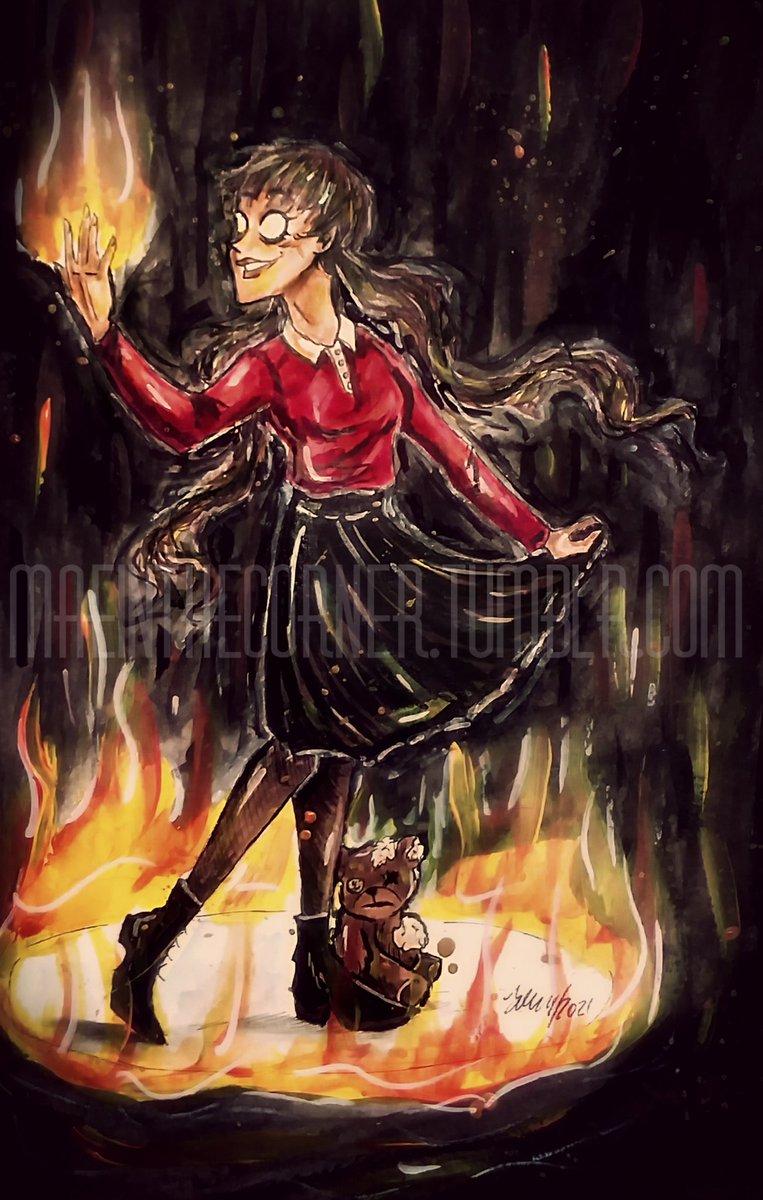 A lovely fire hazard.🔥🖤 #myart #myartwork #dswillow #dsbernie #willow #bernie #DontStarveTogether #DontStarve #DontStarveFanart #fire #flames #traditionalart