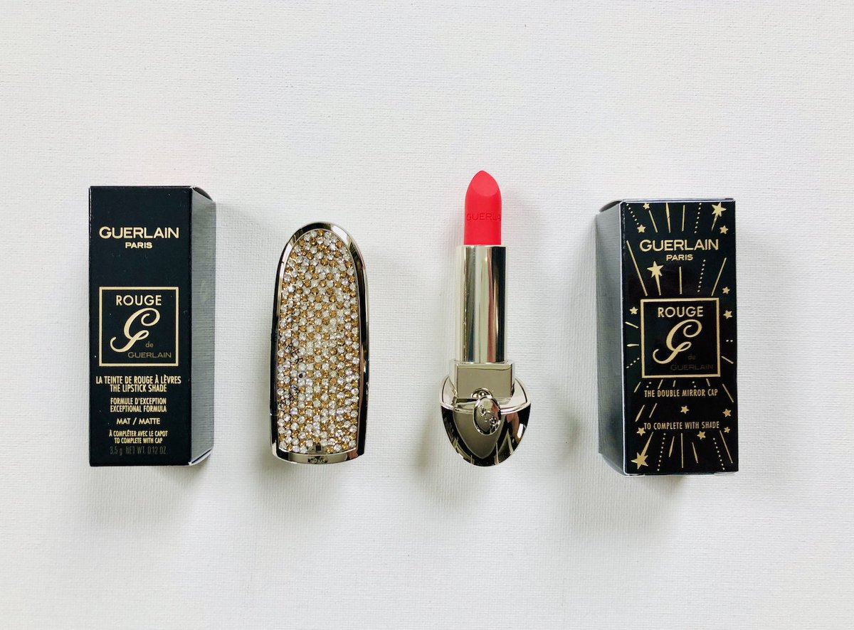 """Excited to be giving away this Guerlain collector Rouge G duo on Twitter. It's a luxe matte lipstick in shade No. 40 + a collector lipstick case in """"Golden Diamonds"""". So beautiful with the gold & clear crystals!! To enter, RT & follow @davelackie (ends 09/03) #win"""