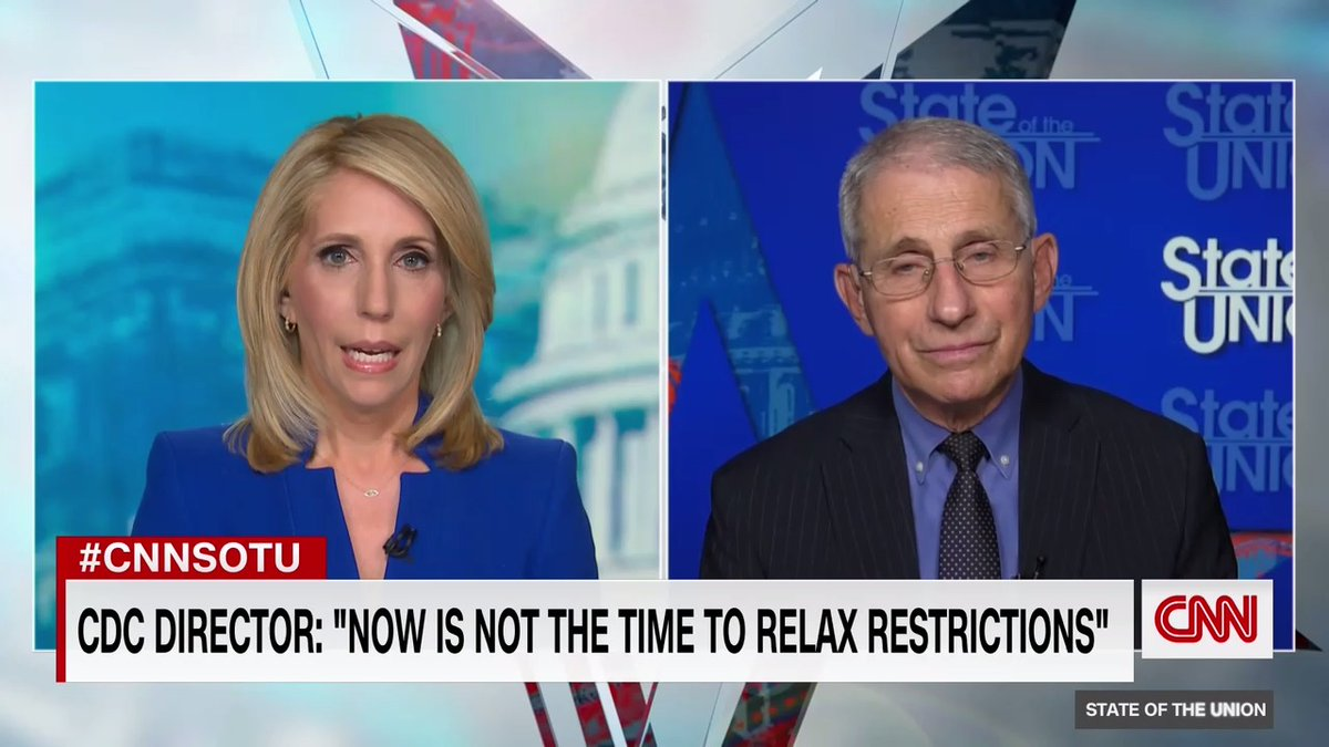 """As governors across the country begin to ease some coronavirus restrictions, Dr. Anthony Fauci says he thinks the efforts are premature: """"It is really risky to say, 'It's over. We're on our way out. Let's pull back.'""""  #CNNSOTU"""