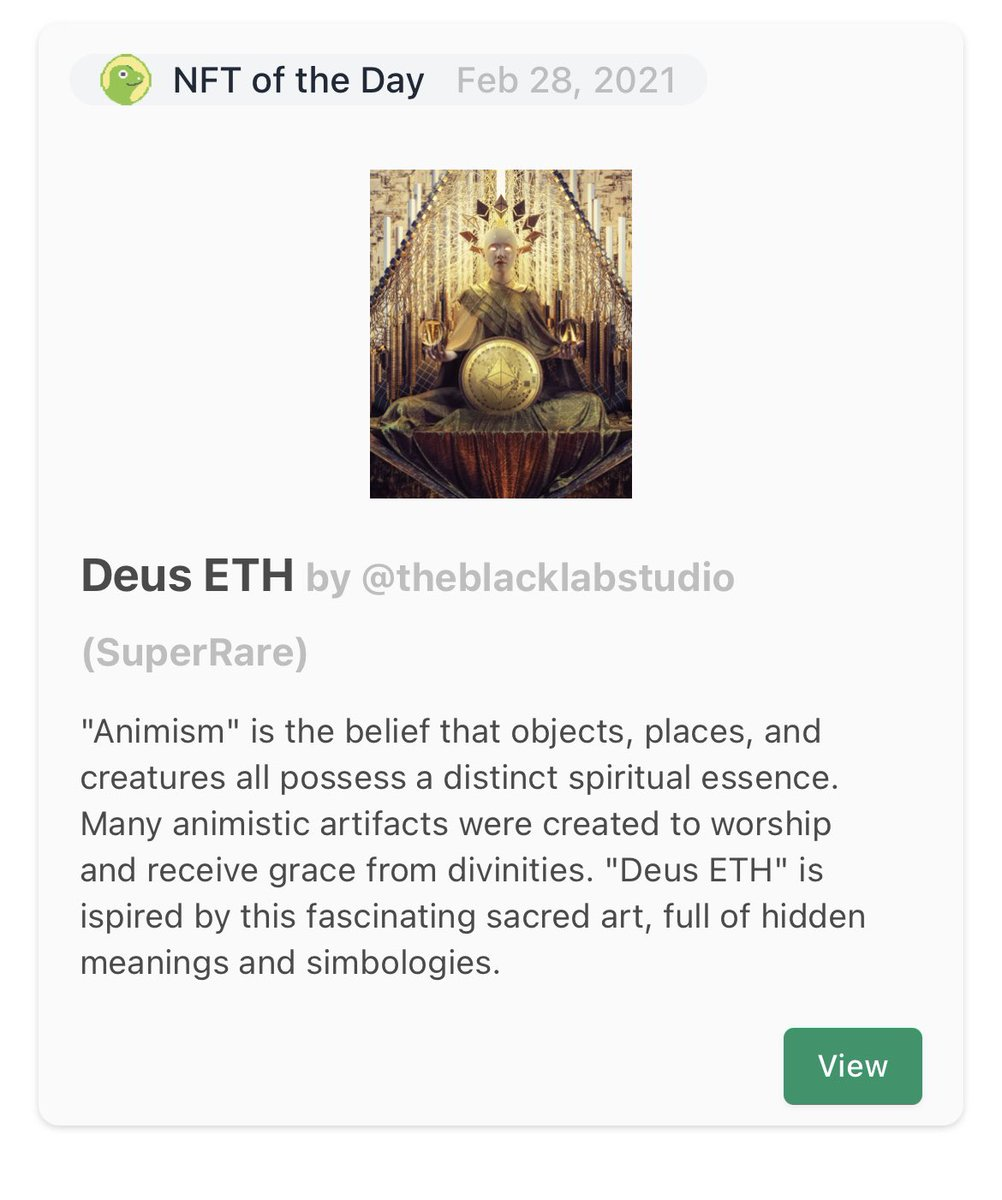 Today we are featuring Deus ETH by @theblacklabstu1 on @SuperRare Check coingecko.com/en/nft to track NFT related tokens