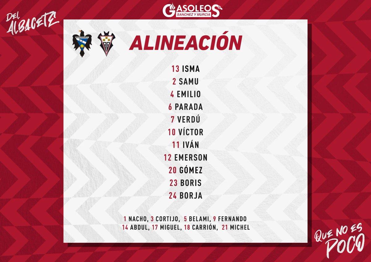 #AtleticoAlbacete 🔛  ¡Así sale de inicio nuestro filial 🆚 @Manzanares_CF_ !  #AúpaAlba