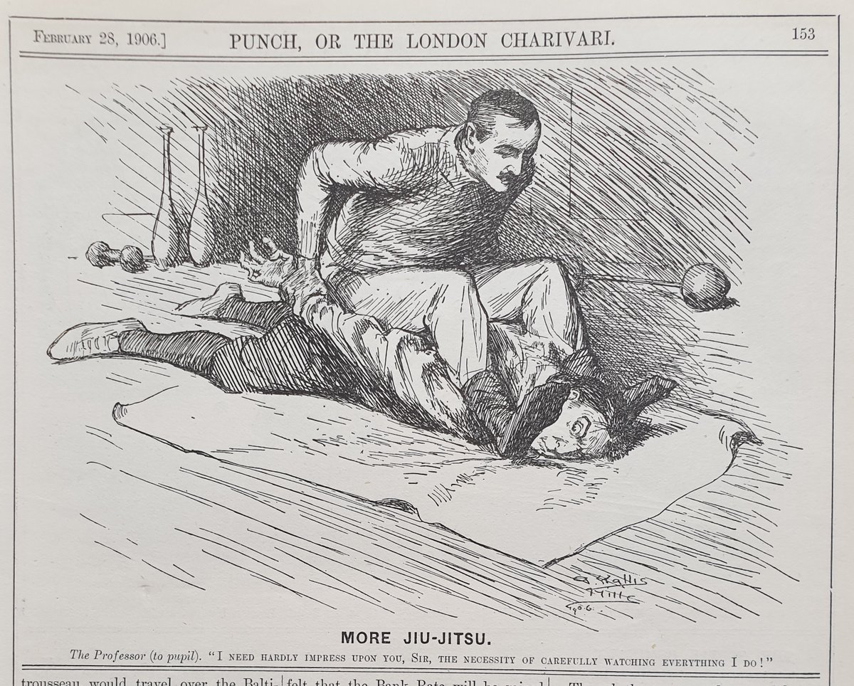 At least #SocialDistancing means you can miss the #SundayMorning Jiu Jitsu class! #OnThisDay in 1906 and a @PunchBooks cartoon from Arthur Wallis Mills #Punch #sportsmemorabilia #sportingprints