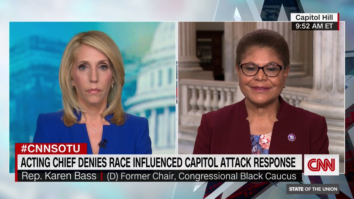 """Rep. Karen Bass says the coronavirus vaccine rollout is failing African Americans and systemic racism is playing a role in vaccine distribution: """"Now, there is vaccine hesitancy, but the access I believe is the number one problem"""" #CNNSOTU"""