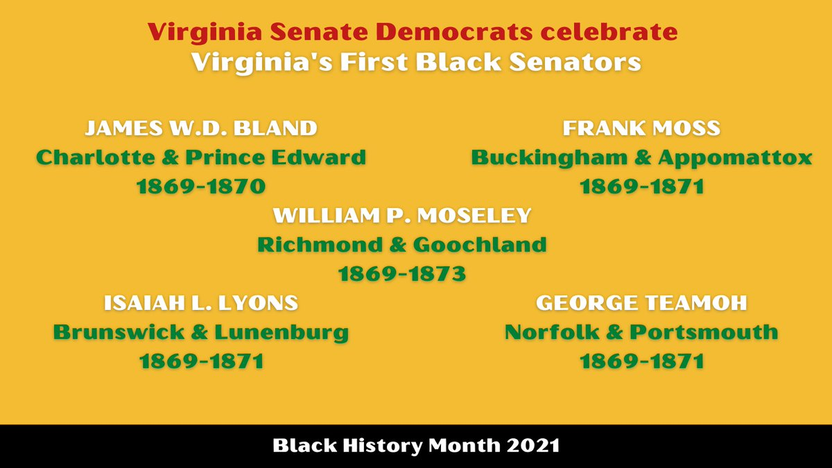 Elected in 1869, 5 Black men were the first African Americans to serve in the Virginia Senate following passage of the 15th Amendment. While most were defeated shortly after their initial elections, their service to the Commonwealth will not be forgotten.