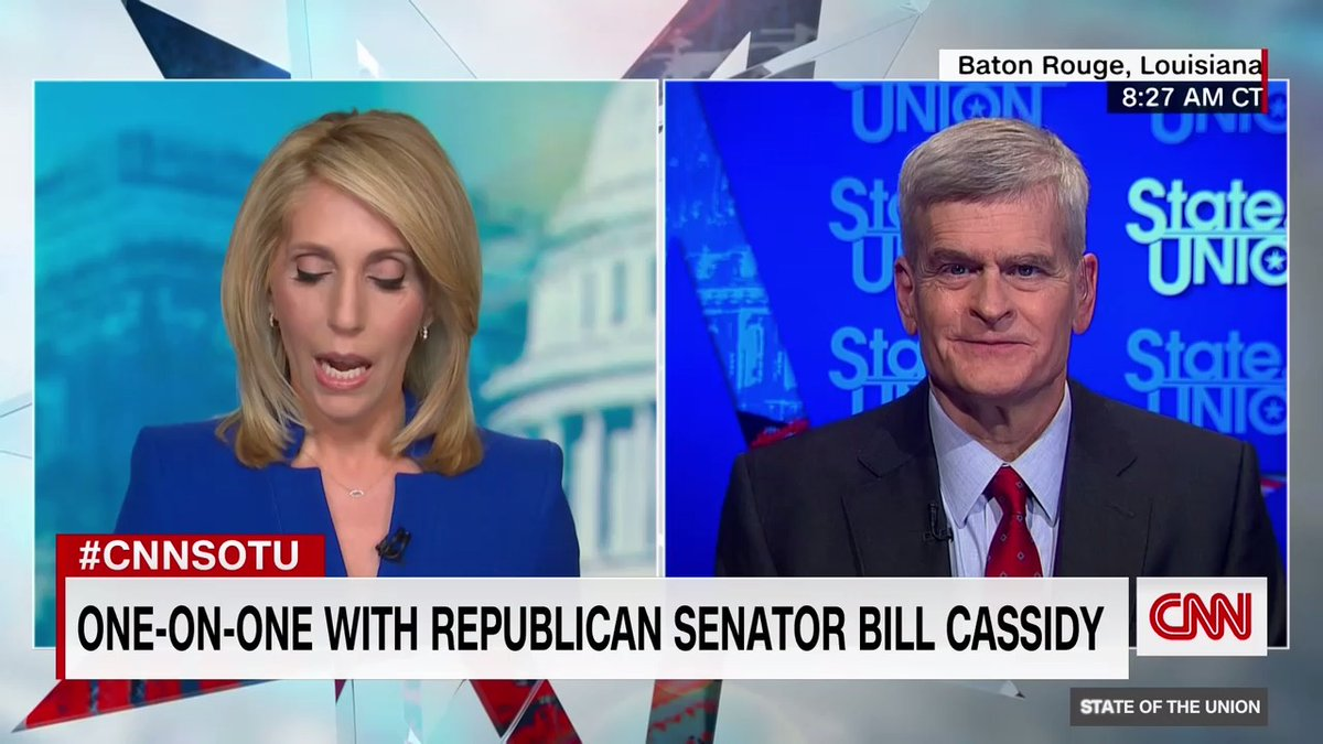 """Sen. Bill Cassidy says he doesn't think fmr. Pres. Trump will be the GOP nominee for president in 2024. """"Over the last four years, we lost the House... the Senate and the presidency"""" which has not happened since Herbert Hoover. """"If we idolize one person, we will lose"""" #CNNSOTU"""
