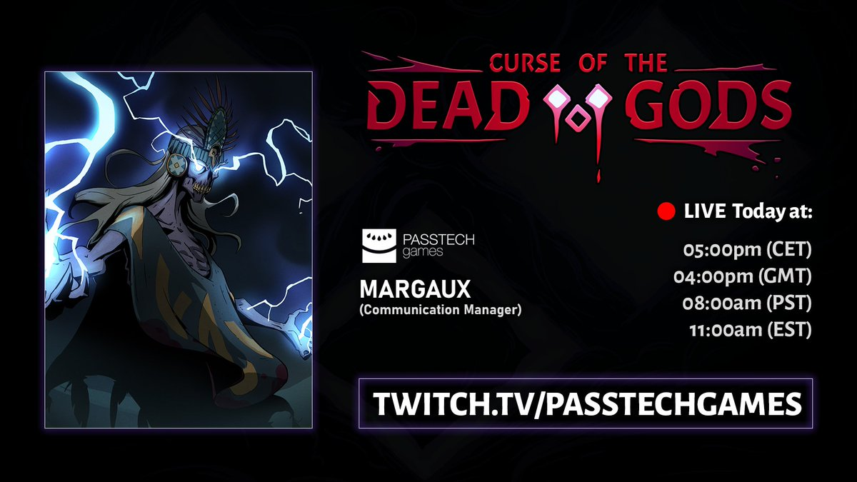🔴 The devstream is about to start!  In today's stream, Margaux will have her revenge against the Dark Avatars of Curse of the Dead Gods!  ➡️