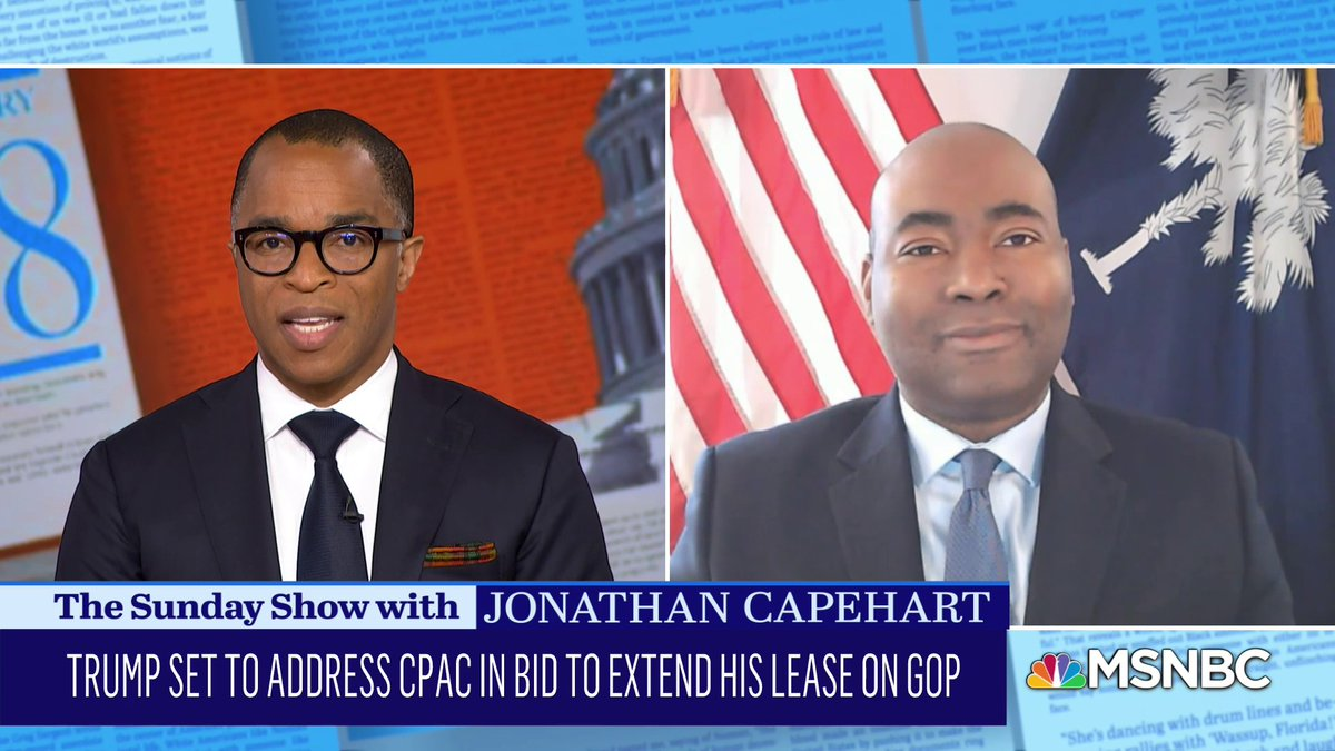 """DNC Chair @harrisonjaime calls #Trump """"a hot messy gift"""" to the Democratic Party. #SundayShow"""