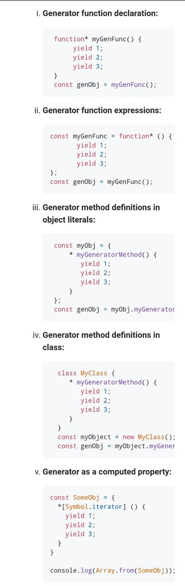 The five types of generators in Javascript #100DaysOfCode