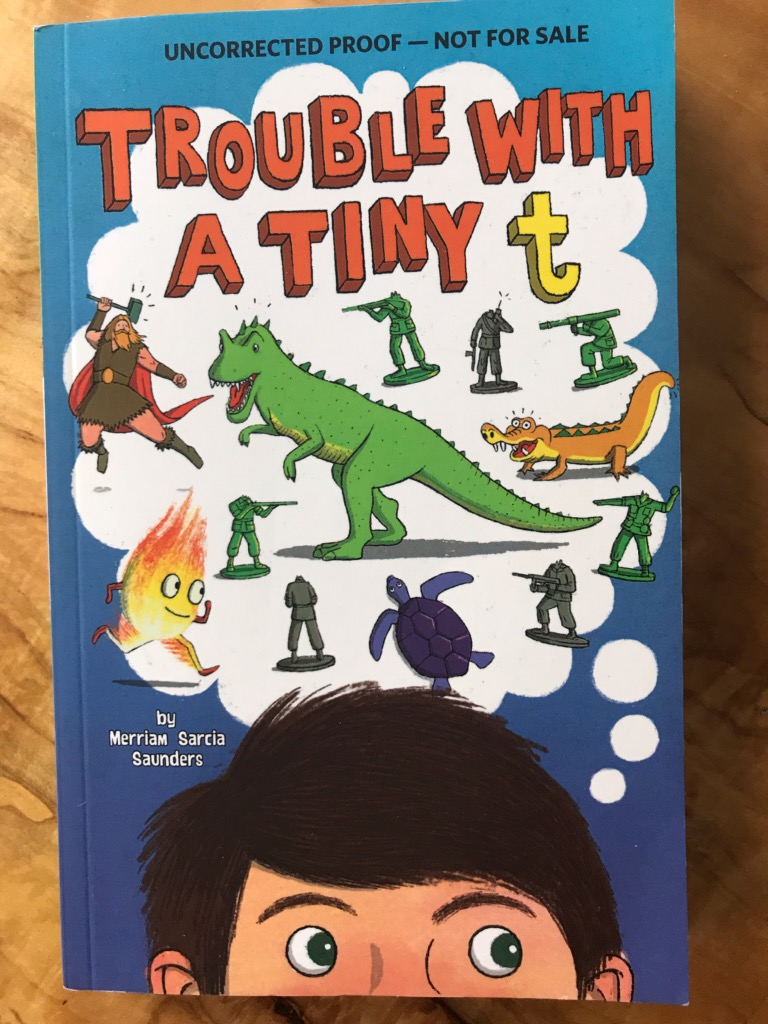 Hey, there #booksojourn friends, TROUBLE WITH A TINY T arrived in the mail this week. Will be starting this soon. Thank you to @MerriamSaunders for sharing! @CapstonePub
