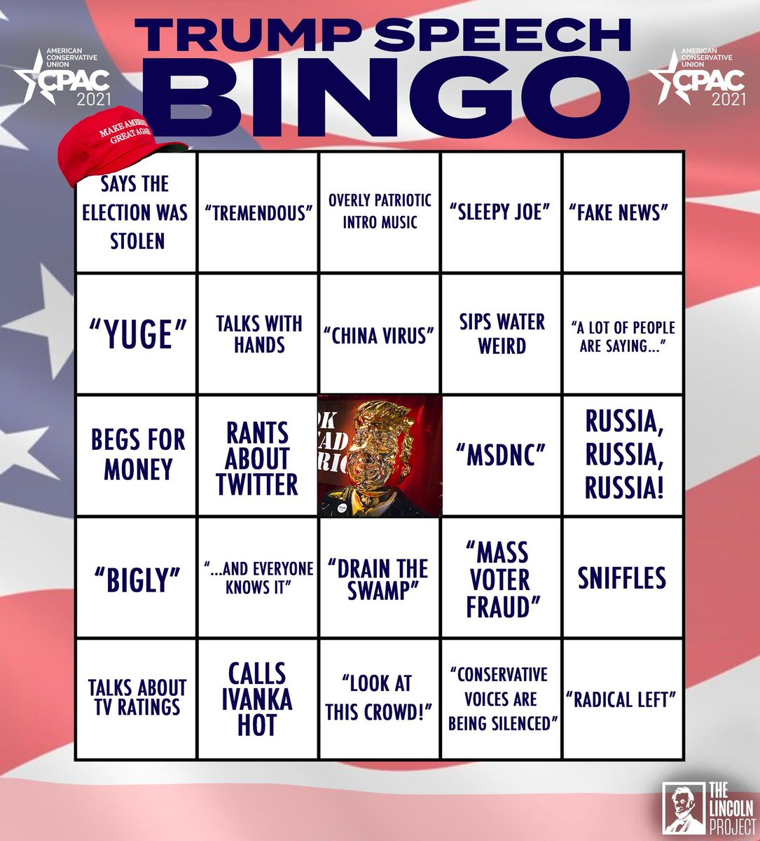 Replying to @ProjectLincoln: As the twice impeached former president takes the stage, keep track with our #QPAC2021 bingo🏴☠️