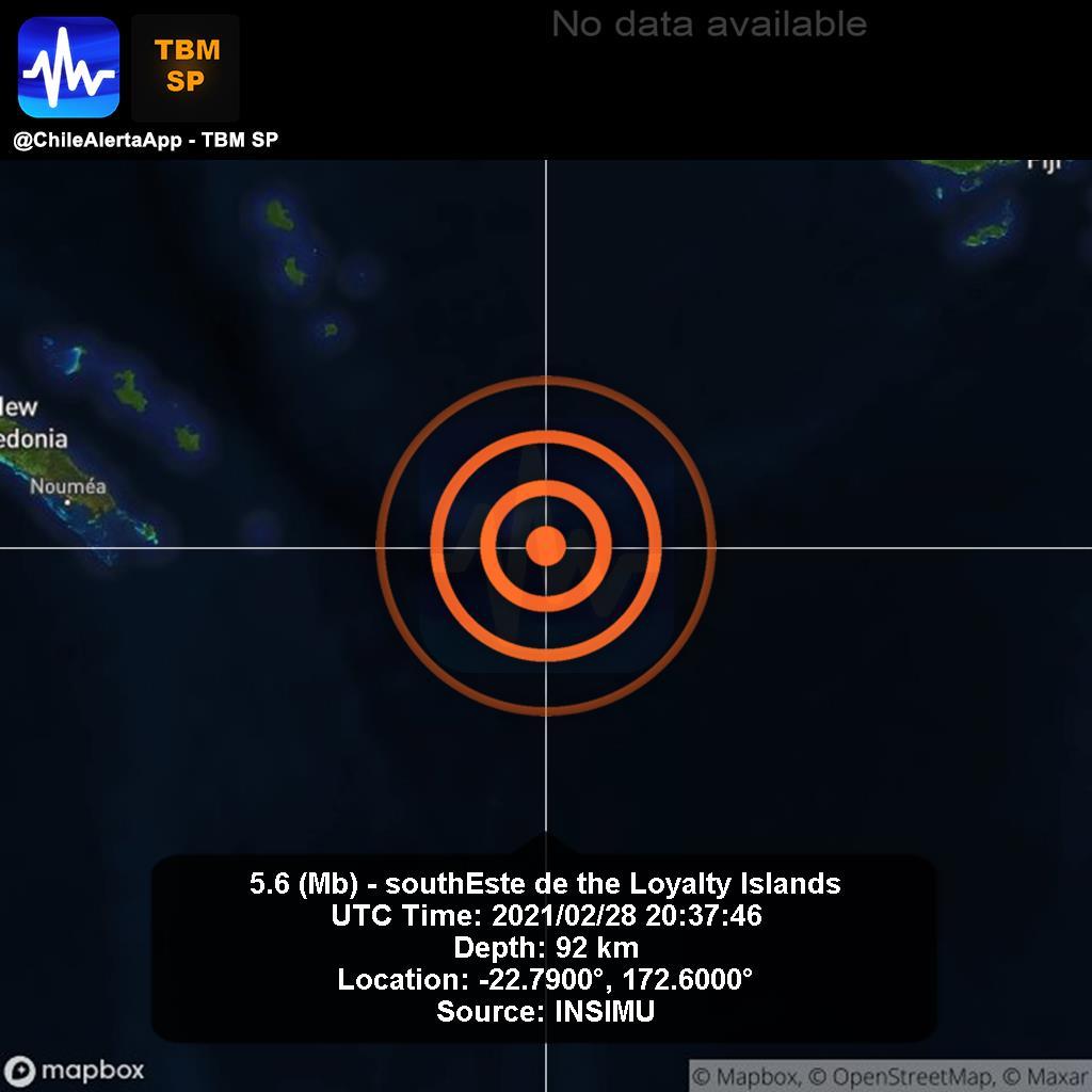 New #Earthquake. 🌎 5.6 (Mb) - southEste de the Loyalty Islands. 2021/02/28 20:37:46 UTC. #Islands App:  #Temblor #Sismo #alert