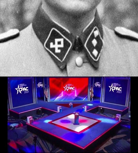 """Some suggest that the #Nazi symbolism on full display by the racist #whiteSupremacists running #CPAC is """"coincidental"""".  #MSM media hasn't condemned this in-your-face trope. Timidity normalizes these people. With exception for Twitter warriors, where's the collective OUTRAGE?"""