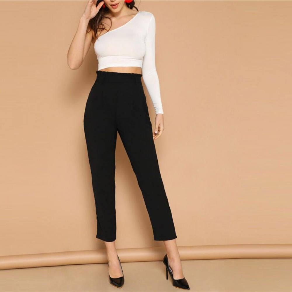 #hair #selfie Women's Elegant Style Black Cropped Pants