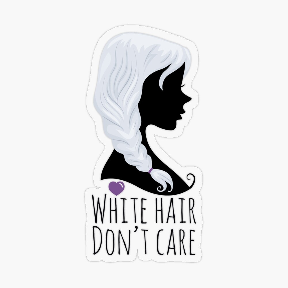 White Hair Don't Care design available on many products in my RedBubble Shop! Get yours here👇 🛍   #findyourthing #redbubble #redbubblesticker #sticker #art #whitehairdontcare #whitehairdontcaresticker #whitehair #greyhair #braid #hairbraid #beauty