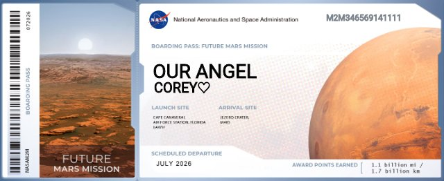 Decided to send Corey's name to Mars!!💙 #corey #cnc #c4house #weloveyoujc #CamboysFamily #coreylabarrie #ripcorey