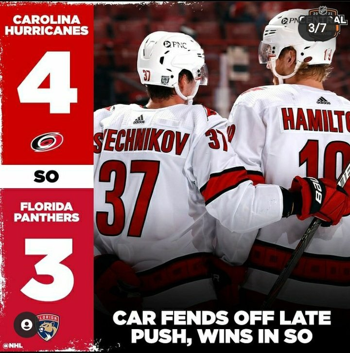 ➡️ CAROLINA HURRICANES VS FLORIDA PANTHERS= 4-3 (SO) ➡️: the carolina hurricanes win and go 13-6-1 (6th place in league) (3rd place in division) ➡️: the florida panthers take 1 point and go 13-4-3 (3rd place in league) (1st place in division) #LETSGOCANES #FLAPANTHERS