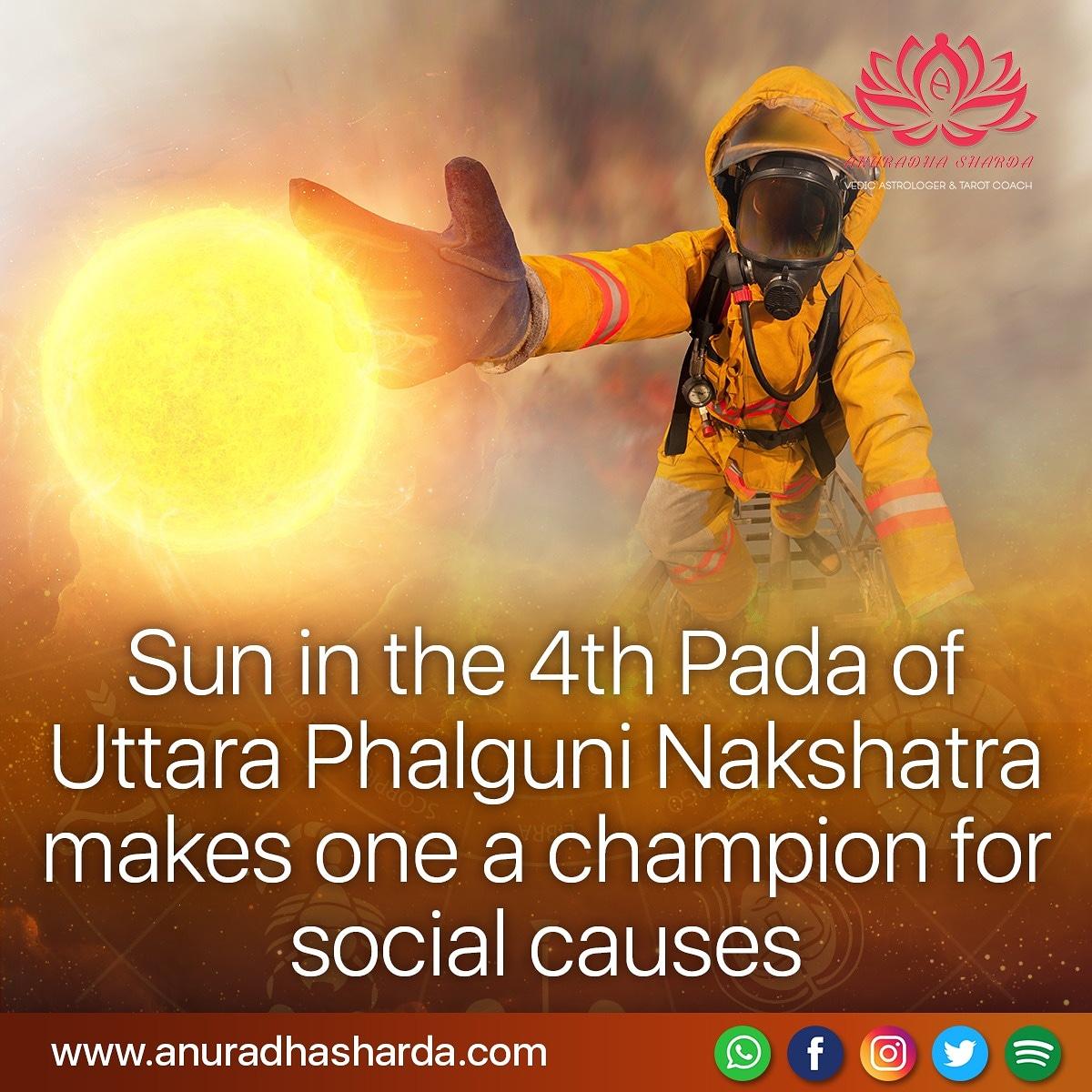 #astrologyposts #astrologydailyquotes #astrology #dailytransit #vedicastrology #Vedicastrologer #zodiacsigns #Sun #Moon #time #Nakshatra #UttaraPhalguni #Aryaman #upright #prosperous  Sun in 4th Pada of UttaraPhalguni Nakshatra makes you champion for social causes.