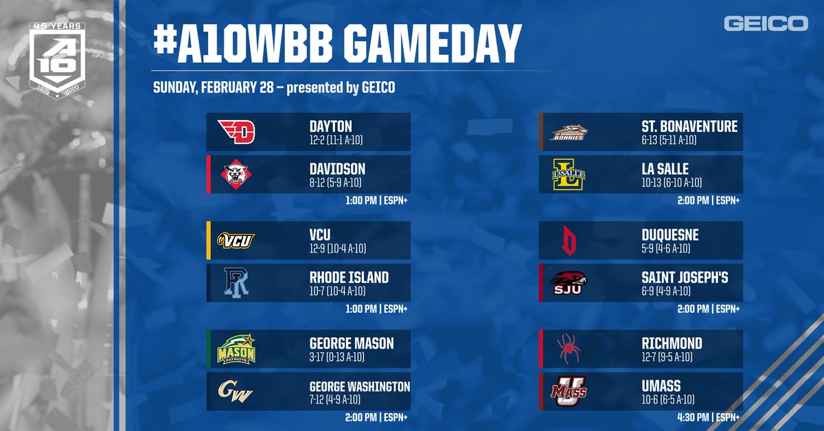 🚨 30 MINUTES #A01BB FANS 🚨  We've made it to the last day of the regular season with huge seeding implications on the line!  Tune in all day to ESPN+ with #A10WBB Gameday, presented by @GEICO ➡️