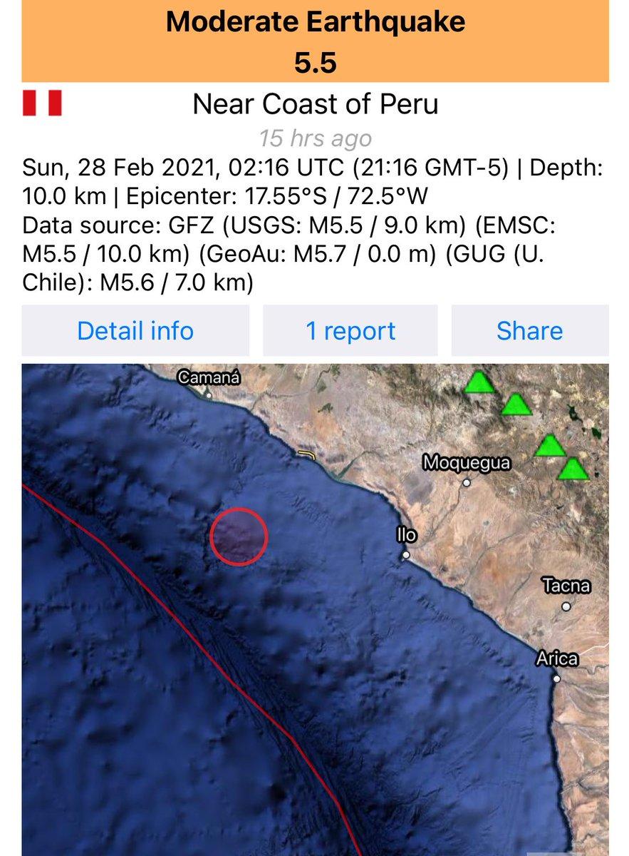 Fuertecito el sismo de Ilo - Moquegua al sur del Peru, anoche. Según #Igp marco 5.9 mw otras fuentes dan promedio 5.6 mw. Profundidad entre 10/20 km. #Earthquake #Temblor #Pandemia #Arequipa #Tacna