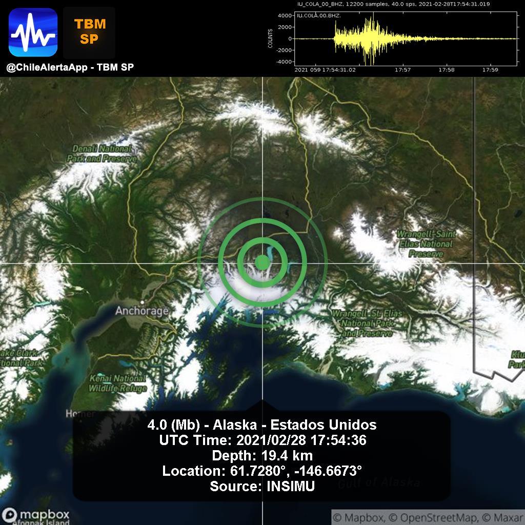 New #Earthquake. 🌎 4.0 (Mb) - Alaska - Estados Unidos. 2021/02/28 17:54:36 UTC. #Unidos App:  #Temblor #Sismo #alert