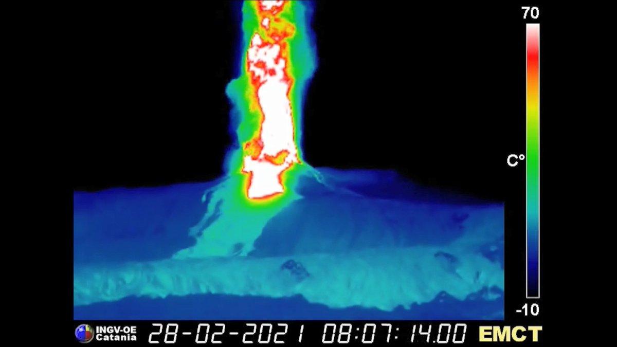 #Etnas brief, violent paroxysm on the morning of 28 February 2021 recorded by INGV-Osservatorio Etneo thermal surveillance cameras @INGVvulcani youtu.be/skWCU1aGryE