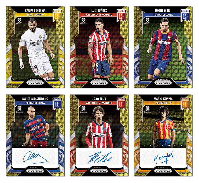 .@PaniniAmerica's 2021 @LaLigaEN Prizm Blockchain set launches tomorrow with stunners from #Messi, Luis Suarez, @joaofelix70 and more. Here's a preview . . .  #WhoDoYouCollect | #LaLiga  #Blockchain