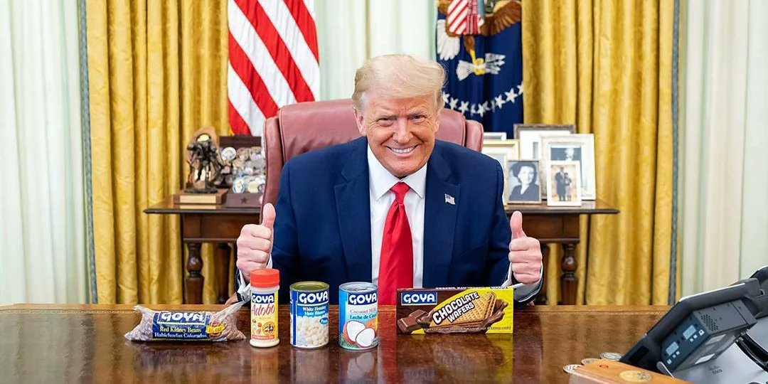 @ddale8 Hey @GoyaFoods,   your CEO is betraying the United States of America live on TV. You now only stand for conspiracy theories and bad food. And a very bad advertising medium . . .  You`re done !