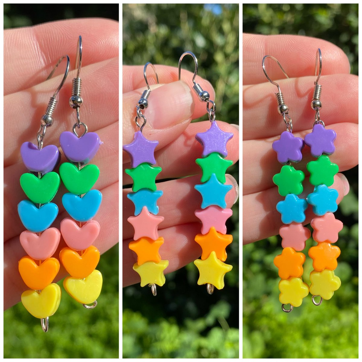 Rainbow Bead Drop Earrings are available in 3 shapes! #smallbusiness #shopsmall #jewelry #handmadejewelry #handmade #womanowned #shop #forsale #weirdearrings #lesbianearrings #makers