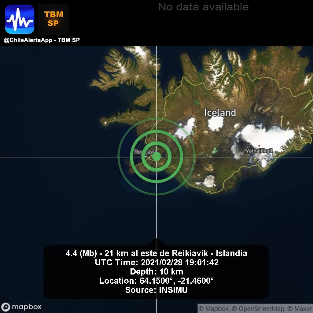 New #Earthquake. 🌎 4.4 (Mb) - 21 km al este de Reikiavik - Islandia. 2021/02/28 19:01:42 UTC. #Reikiavik-Islandia App:  #Temblor #Sismo #alert