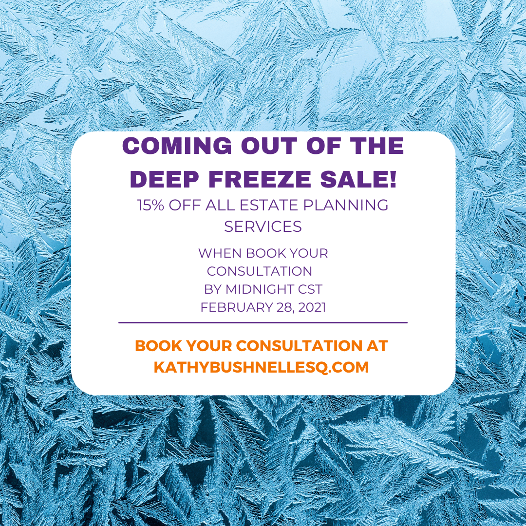 We're coming out of the deep freeze, and it's time to start planning for the future.  #kathybushnellesq #estateplanning #will #powerofattorney #lawyer #attorney #sale #oklahoma