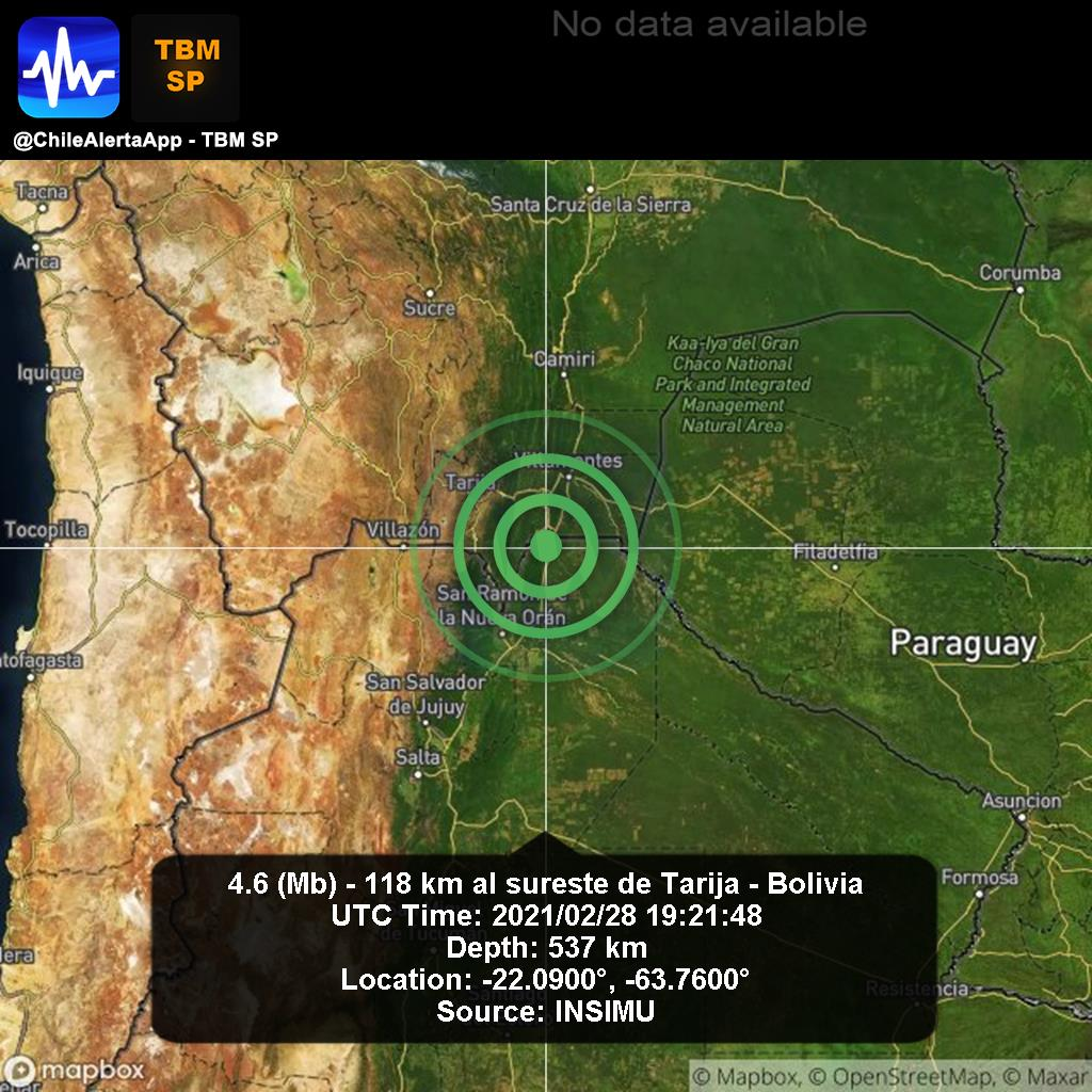 New #Earthquake. 🌎 4.6 (Mb) - 118 km al sureste de Tarija - Bolivia. 2021/02/28 19:21:48 UTC. #Tarija-Bolivia App:  #Temblor #Sismo #alert
