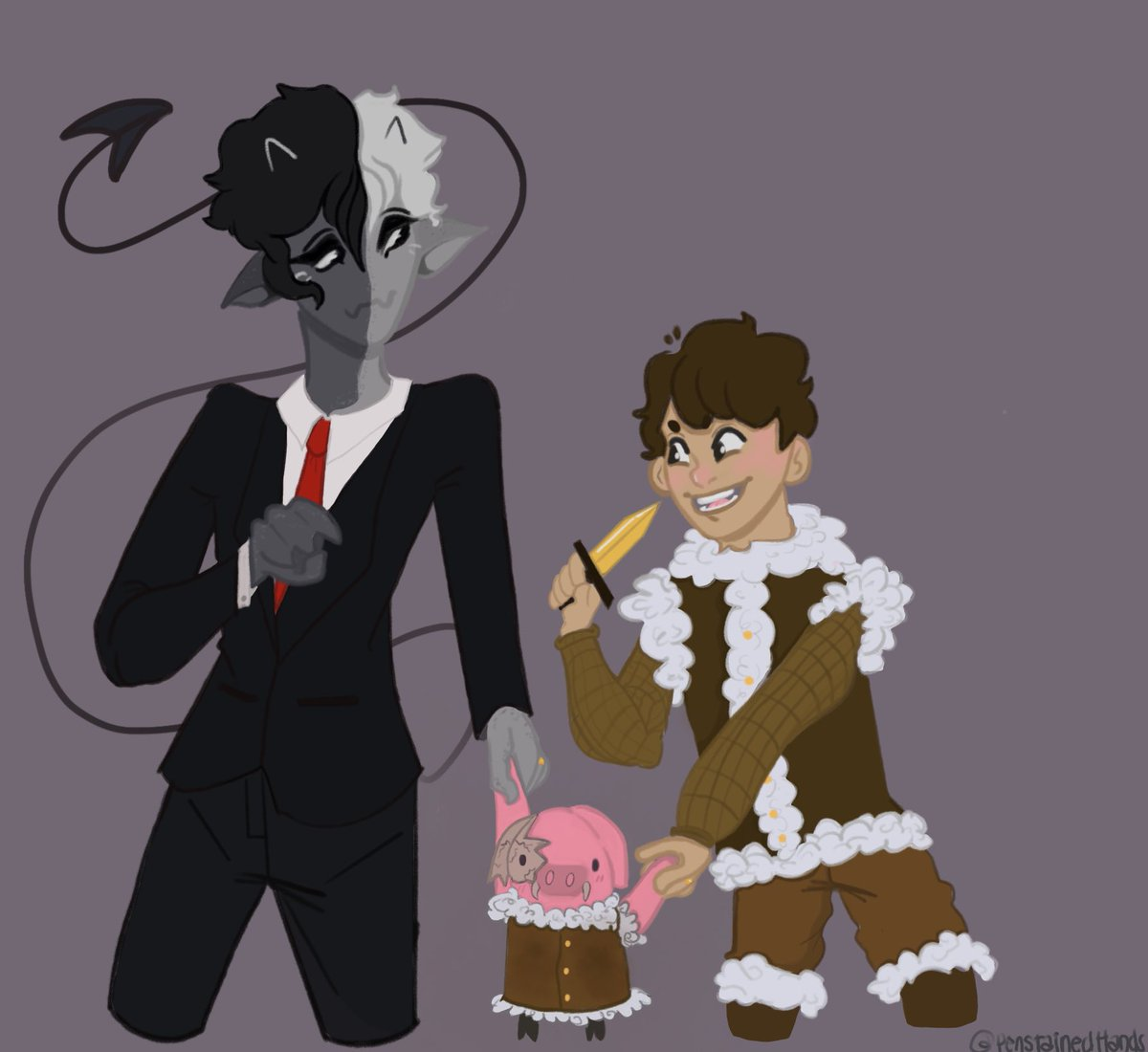 I am emotionally attached to two teenagers that are married and have an adoptive son who is an undead pigling...   {also give me some suggestions on what to draw pls :}   #beetwt #bootwt #beenboo #ranbooart #bootwtselfieday #ranboomybeloved #tubbofanart #dreamsmpfanart