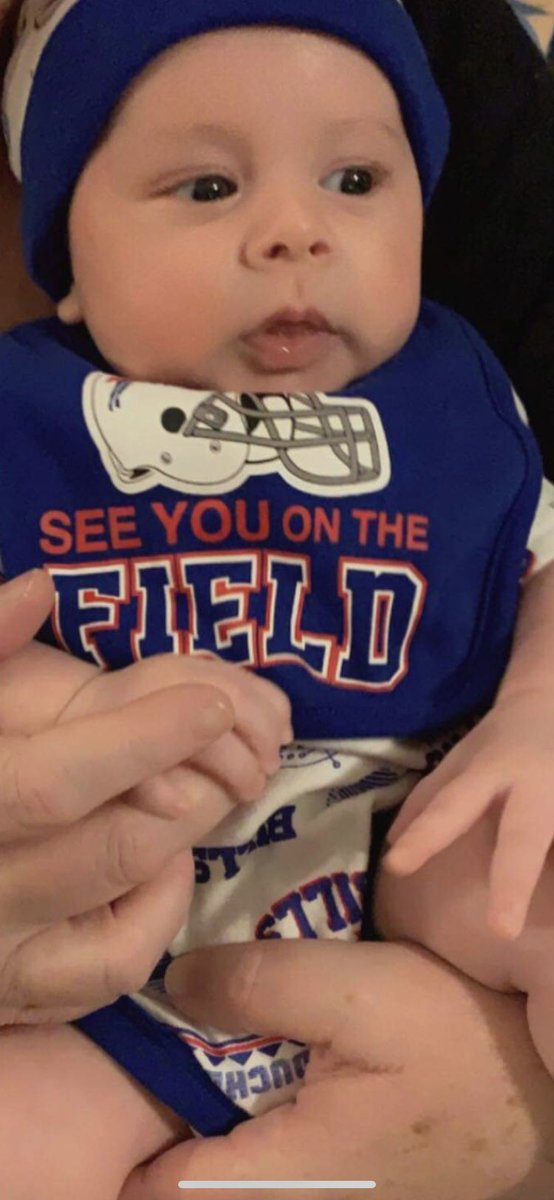 @BuffaloBills Another Bills fan at two months old! Sorry about the tears, but I had to explain they lost in the playoffs. #BillsMafia for life!