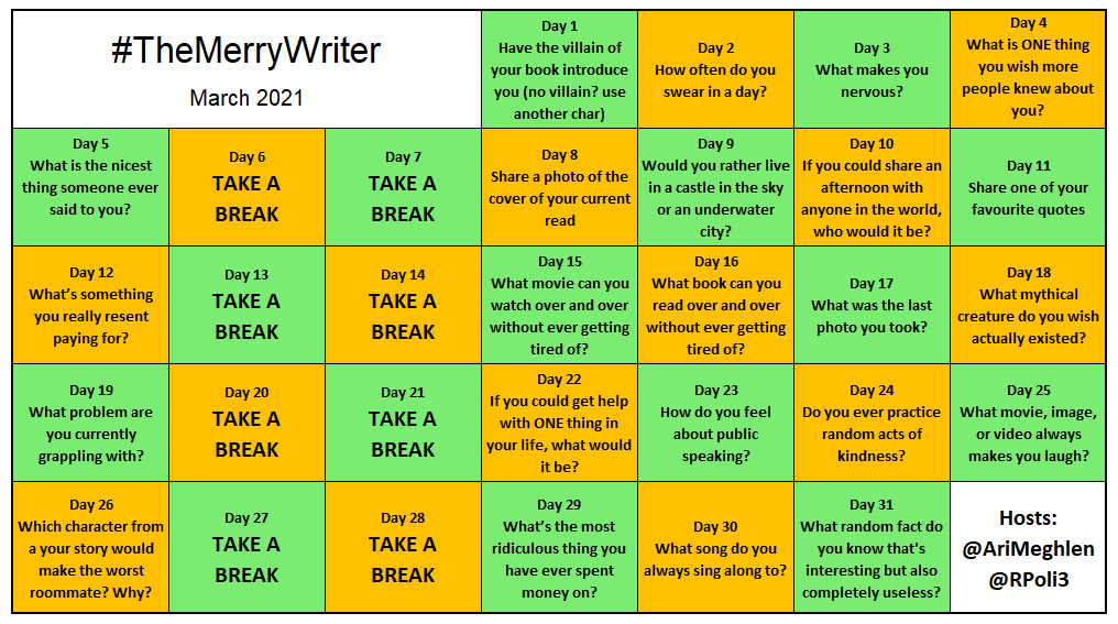 """Hey #Writers, it's time for another game! Check out March's Gameboard of #TheMerryWriter. Join our awesome #writingCommunity, answer daily questions, support each other, make new friends & have fun!  """"Come for the questions, stay for the friends"""" @bagoflettuce"""