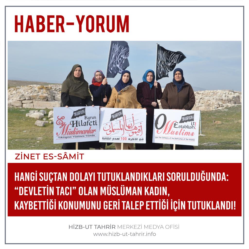 """Haber-Yorum  Hangi Suçtan Dolayı Tutuklandıkları Sorulduğunda:  """"Devletin Tacı"""" Olan Müslüman Kadın, Kaybettiği Konumunu Geri...  #MüslümanBacılarGözaltında #HilafetİstemekSuçDeğildir #أقيموا_الخلافة #ReturnTheKhilafah #YenidenHilafet #خلافت_کو_قائم_کرو"""