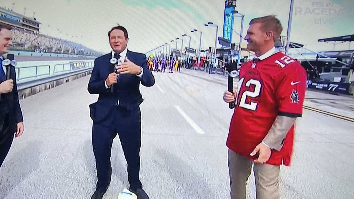 Clint Bowyer, Kansas native and noted #Chiefs fan, definitely lost a bet.   @TomBrady is smiling somewhere.