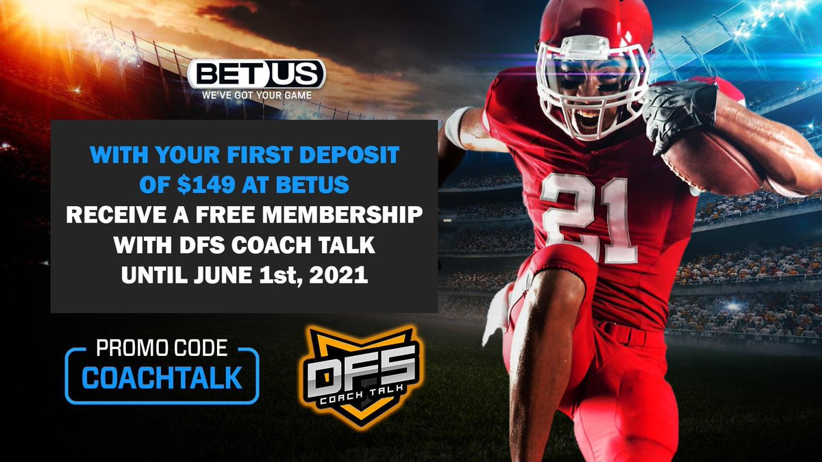 Get the most for your money at DFS CoachTalk! Sign up with  @BetUS_Official  & make your first deposit of $149 w/ the promo code COACHTALK & receive membership w/us until June 1st, 2021. LIVE/FUTURE BETS, PROP BETS, DFS FANDUEL LINEUPS AND DRAFTKINGS CORES! #NBA #NFL #PGA #MLB