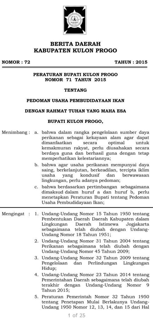 @susipudjiastuti @saktitrenggono @rinajanwar2201 Ibu, ini salahsatu kabupatennya lewat Peraturan Bupati, yaitu Kulonprogo. Ada daerah lain spt Kabupaten Poso dan Sukabumi.