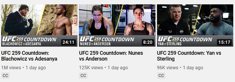 A comparison between the three #UFC259 Countdown segments: Jan Blachowicz vs. Israel Adesanya trending roughly 10x bigger than the other two