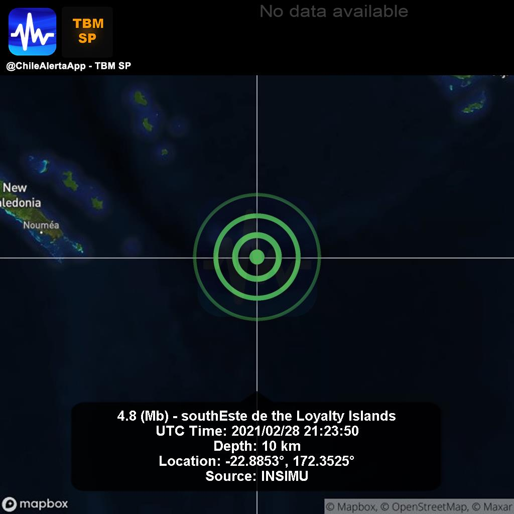New #Earthquake. 🌎 4.8 (Mb) - southEste de the Loyalty Islands. 2021/02/28 21:23:50 UTC. #Islands App:  #Temblor #Sismo #alert