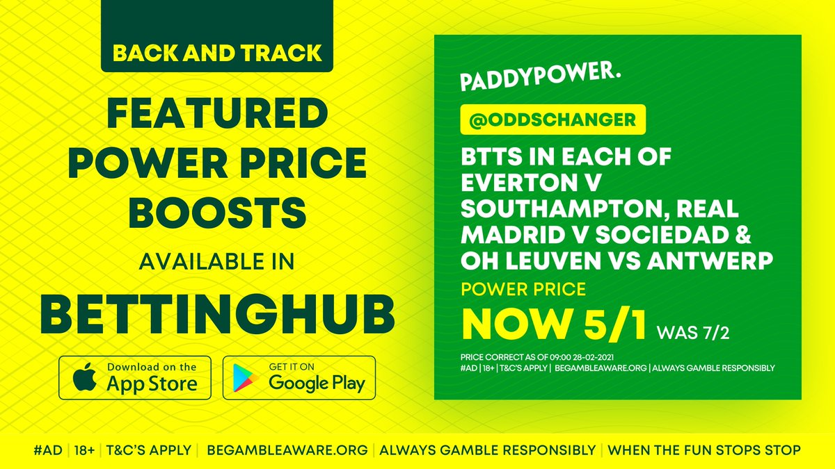 🌟 @Oddschanger have a picked out this BTTS Treble for today's matches!  📲 Back and track it using the Betting Hub app and receive live notifications for each leg or directly here:   #Ad | 18+ |  | T&C's Apply
