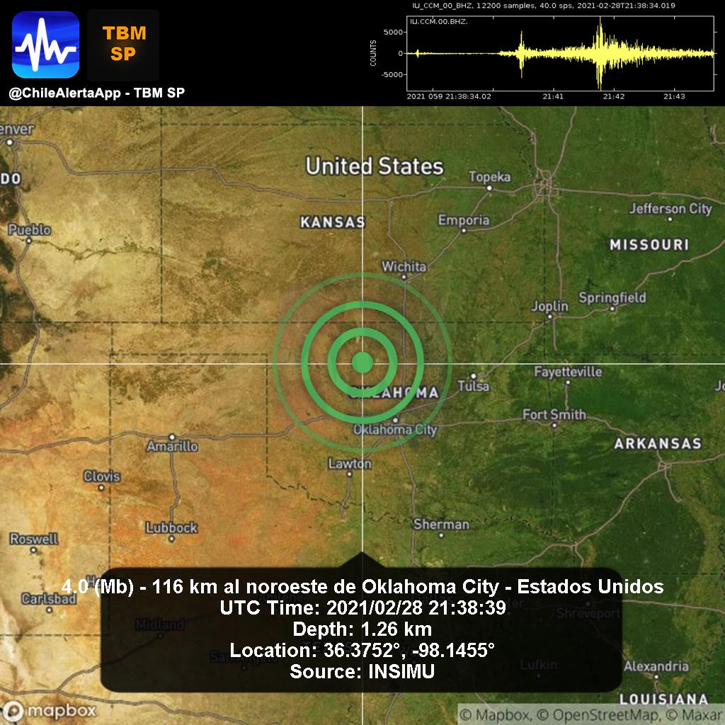 New #Earthquake. 🌎 4.0 (Mb) - 116 km al noroeste de Oklahoma City - Estados Unidos. 2021/02/28 21:38:39 UTC. #OklahomaCity-EstadosUnidos App:  #Temblor #Sismo #alert