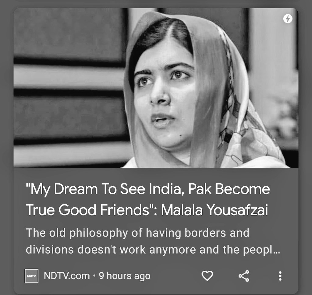 I wish someone from #India would have said the same thing as you @Malala  #Pakistan #Peace  😔💔