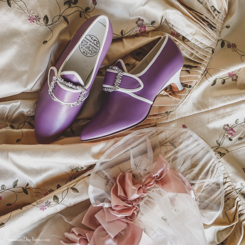 Lovely lavender Dunmore 18th c. shoes. Buy Dunmore for $20 off and in unlimited sizes through March 12:  #historicalcostume #costume #americanduchess #fashion #historybounding #shoes #history #georgian #18thcentury #georgianfashion #marieantoinette⁠