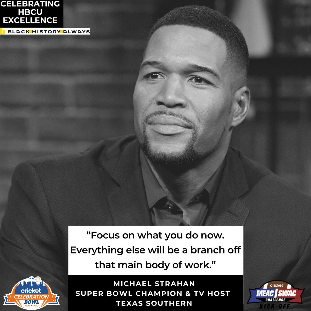Michael Strahan attended Texas Southern University where he holds the sack record (41.5). He went on to become a now Super bowl Champion, TV Personality, and journalist. #CelebratingHbcuExcellence #BlackHistoryAlways