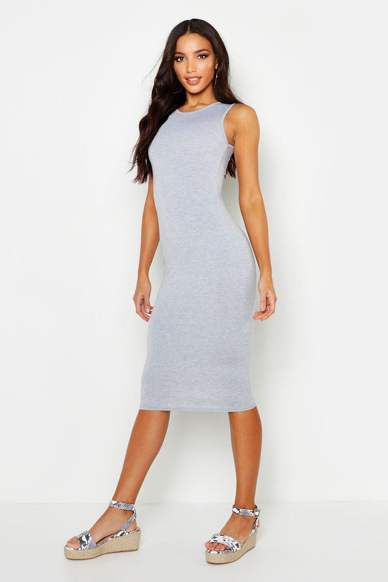 Sleeveless Midi Dress - grey marl  #fashion